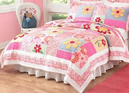 Amazon Olivia Pink Twin Quilt With Pillow Sham Home Kitchen