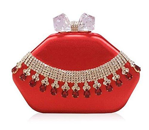 Women Chain Dress Clutch Evening Shoulder Bags Silk Red Rhinestone Party Wedding NVBAO SC6fqWUw6