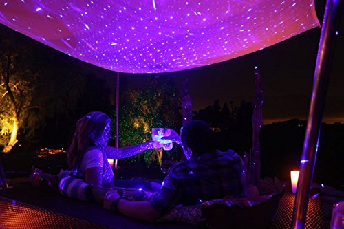 Purple Laser Light Projector by BlissLights Commercial Grade Indoor or Outdoor Laser Star Spotlight Includes Wireless Remote, 16 LED Accent Colors, Timer, Stake, and Thousands of FireFly Pinpoints by BlissLights (Image #2)