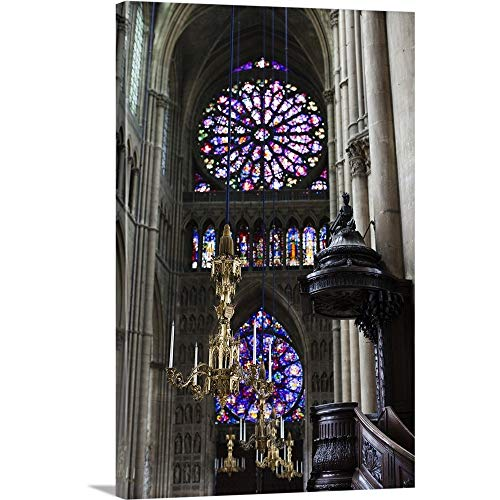 GREATBIGCANVAS Gallery-Wrapped Canvas Entitled France, Marne, Champagne Ardenne, Reims, Cathedrale Notre Dame by Walter Bibikow 24