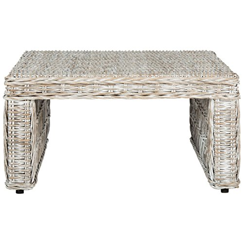 Safavieh Home Collection Hila White Wash Wicker Coffee Table