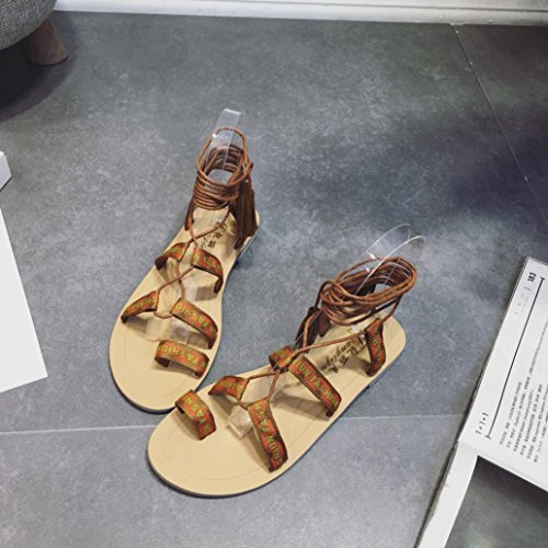 Rumas Femmes Gladiateur Bottes Dété Strappy Bandage Gland Clip Orteil Sandales Plates Brun