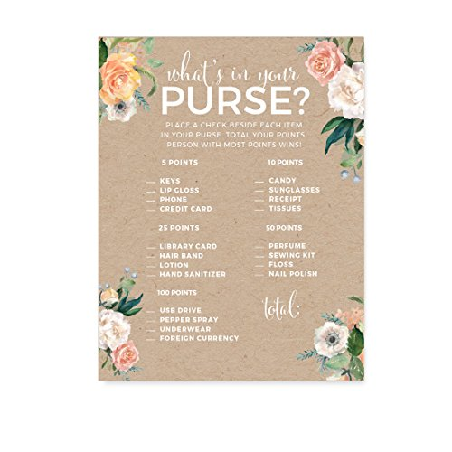 Andaz Press Peach Coral Kraft Brown Rustic Floral Garden Party Wedding Collection, What's in Your Purse? Bridal Shower Game Cards, 20-Pack -