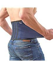 Lower Back Brace by AveSton with 6 Plastic Lumbar Support and 3 Level Adjustable Belt for Perfect Fit - Keep Your Spine Safe and Straight - Relieve Pains and Aches