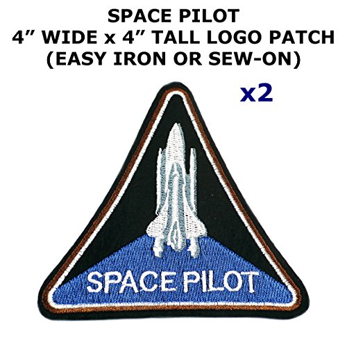 2 PCS Space Pilot NASA Rocket Shuttle Theme DIY Iron / Sew-on Decorative Applique Patches - Mario Girl Costume Diy