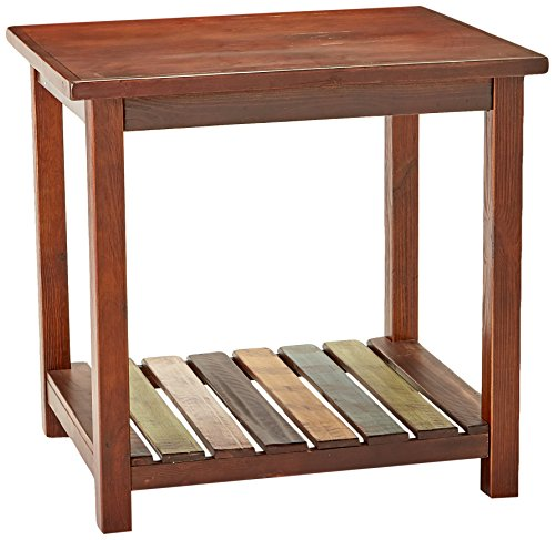 (Mestler Rustic Chairside End Table Brown with Multi Colors Ashley Furniture)