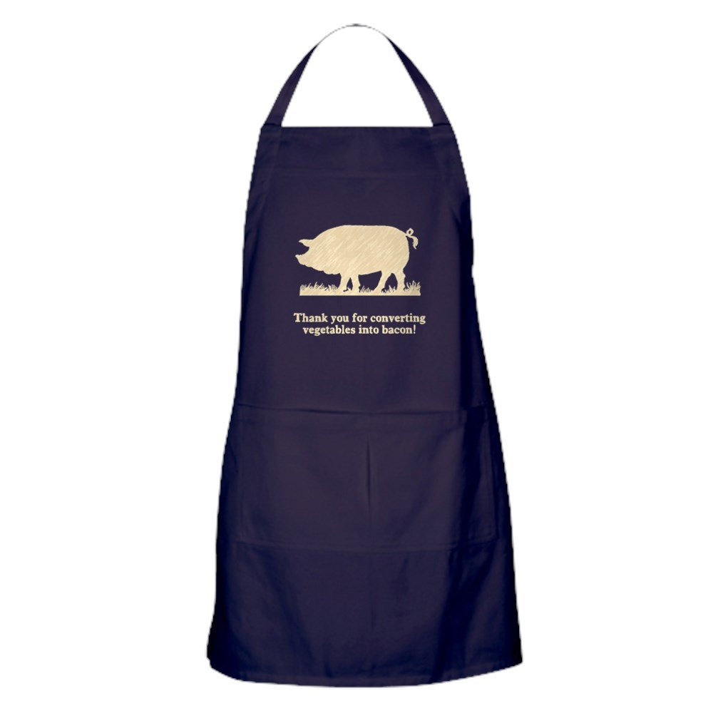 CafePress Pig Vegetables Into Bacon Kitchen Apron with Pockets, Grilling Apron, Baking Apron by CafePress