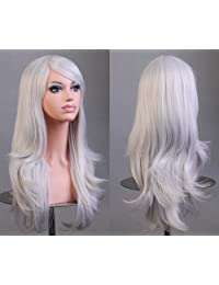 Viigoo 70cm 300g Long Hair Curls Cosplay Wigs Party wig 12 Colors Available (White)