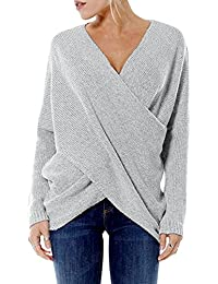edc2c8f90a Cross Front Sweater for Women Sexy V Neck Long Sleeves Knit Tops Irregular  Hem Jumper