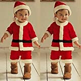 Christmas Santa Claus Party Costume Toddler Baby Boys Girls Blouse +Pants+Hat Outfits Set (2-3 years...