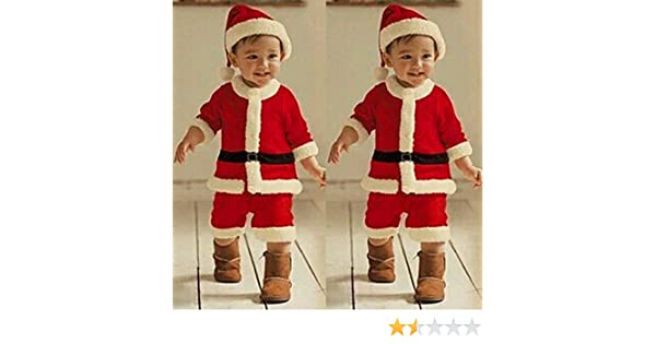 a36a95055c38 Amazon.com: Christmas Santa Claus Party Costume Toddler Baby Boys Girls  Blouse +Pants+Hat Outfits Set (2-3 years old, Red): Beauty