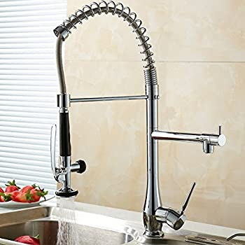 FLG Spring Single Handle Pull Down Kitchen Sink Faucet With Sprayer,  Commercial Pre Rinse Faucet