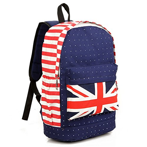 Fortunings JDS® Britischen Stil unisex Leinwand roten Streifen und Punkte Rucksack Rucksack rot
