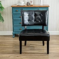 Roundhill Furniture AC002SK Faux Leather Tufted Accent Chair, Oversized, Black