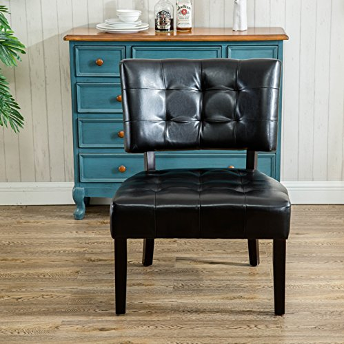 Roundhill Furniture AC002SK Faux Leather Tufted Accent Chair Oversized Smooth Black