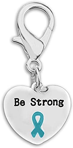 Amazon Com Ovarian Cancer Awareness Teal Ribbon Be Strong Hanging Charm Jewelry