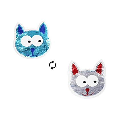 f95f05c4319f8 1PC 22 x 19.5 cm Cat Sequin Patch Embroidered Motif Applique Glitter Sequin  Decor Patches DIY Patch Perfect for Clothes Jeans T-Shirt