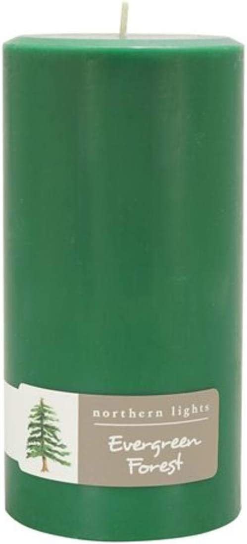 Northern Lights Candles Evergreen Forest Pillar Candle, 3x6, Hunter Green