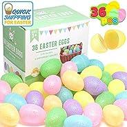 """JOYIN 36 Pcs 3.15"""" Glittering Colorful Assortment Fillable Easter Egg Shell for Easter Egg Hunt, Basket Stuffers Filler, Fil"""