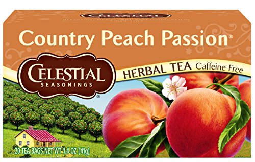 White Caffeine Free Tea - Celestial Seasonings Herbal Tea, Country Peach Passion, 20 Count (Pack of 6)
