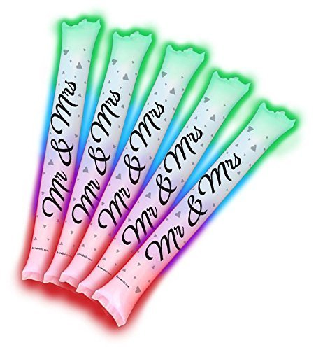 Wedding Noise Makers (Brite Boltz - Mr & Mrs Married Inflatable Color Changing Light Up Bang Bang Spirit Sticks - Wedding and Party Cheering Sticks 5)