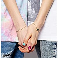 Sumanee 2pcs Trendy Friendship Best Friends Sister Moon & Star Charm Bracelet Chain