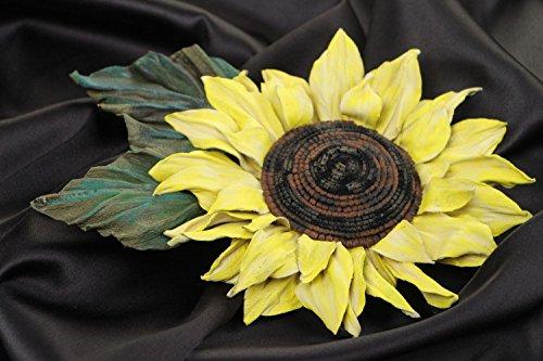 Handmade Designer Brooch With Large Volume Natural Leather Sunflower