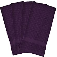 "DII Cotton Waffle Terry Dish Towels, 15 x 26"" Set of 4, Ultra Absorbent, Heavy Duty, Drying & Cleaning Kitchen Towels-Eggplant"