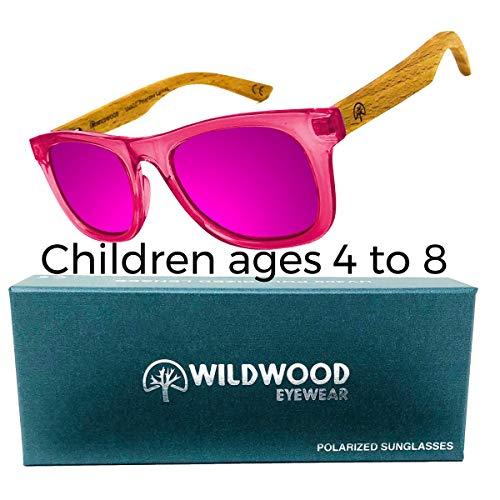 Wildwood Kids Wayfarer Polarized Sunglasses (Ages 4-8) - Sunglasses Hard Wayfarer Wood And