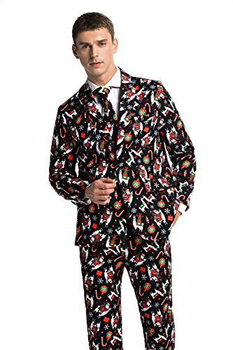 Men's Ugly Christmas Suit Funny Santa Riding Alpaca Party Costumes - A Lotta Llama Lovin' for $<!--$34.99-->