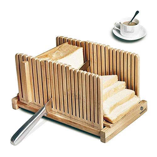 WELLAND Bamboo Bread Slicer Guide, Foldable Wooden Toast Cutting Guide with 3 Slicing Sizes for Homemade Breads, Loaf Cakes ()