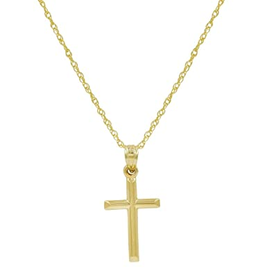 31cbaa431c8100 Amazon.com: 10K Yellow Gold Cross Pendant Necklace on an 18 in. chain:  Jewelry
