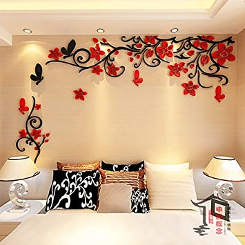 JWQT Romantische Blume Weinstock 3D Acryl Dreidimensionale Wall Sticker,  Wohnzimmer Tapete Selbstklebende Schlafzimmer Warm TV