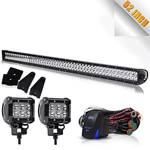 "Led Light Bar TURBOSII DOT 52"" Flood Spot Combo Offroad Driving Light Bar + 4"" Pods Cube Led Work Fog Lights On Grill Roof Windshield For Jeep Wrangler Ford Toyota Truck Boat 4x4 GMC Silverado"