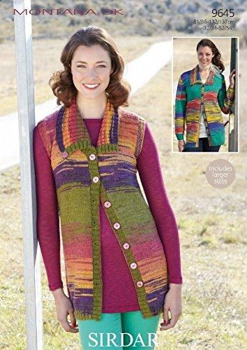 bccf09aa6 Sirdar Montana DK Women s Cardigan   Waistcoat Knitting Pattern 9645  Amazon .co.uk  Kitchen   Home