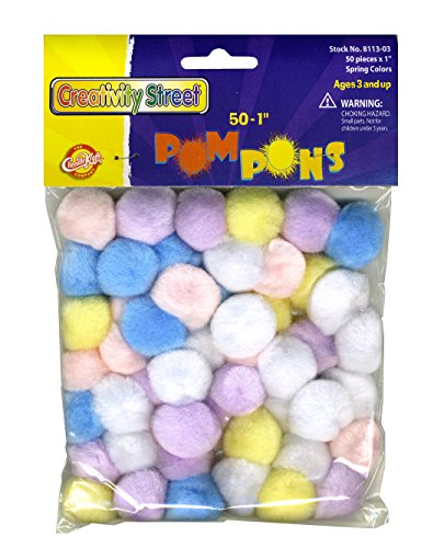 Creativity Street Pom Pons 50-Piece x 1 Inch, Spring Assorted Colors