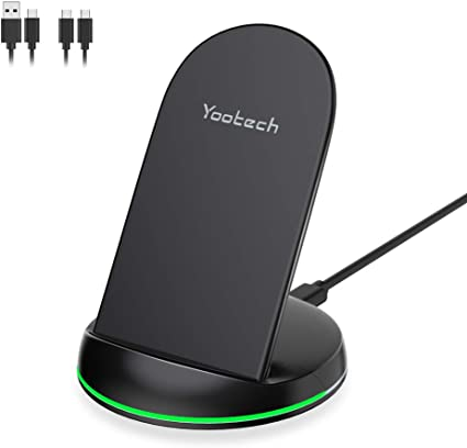10W Qi-Certified Wireless Charging Stand,7.5W Compatible with iPhone XR//Xs Max//XS//X//8//8 Plus 10W Fast Charging Galaxy S10//S10 Plus//S10E//S9 No AC Adapter Yootech Wireless Charger