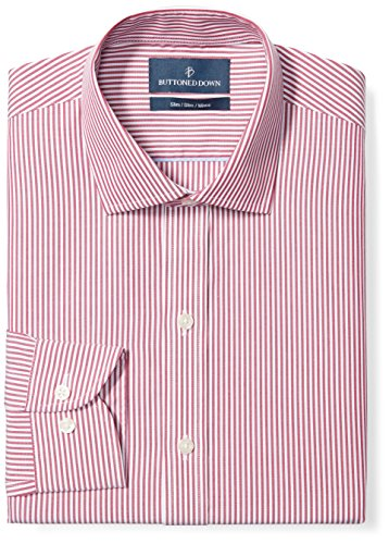 Buttoned Down Men's Slim Fit Spread-Collar Pattern Non-Iron Dress Shirt, Burgundy Bengal Stripe, 16.5
