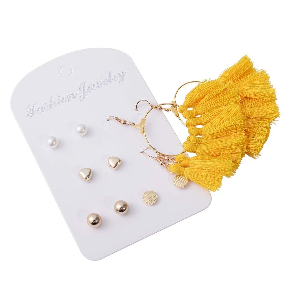 Shuning 6 pairs Cute Colorful Tassel Flower Dangle Earrings Set for Women Girls