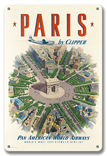 Pacifica Island Art 8in x 12in Vintage Tin Sign - Paris by Clipper - Arc de Triomphe (Arch of Triumph) France - Pan American World Airways PAN AM