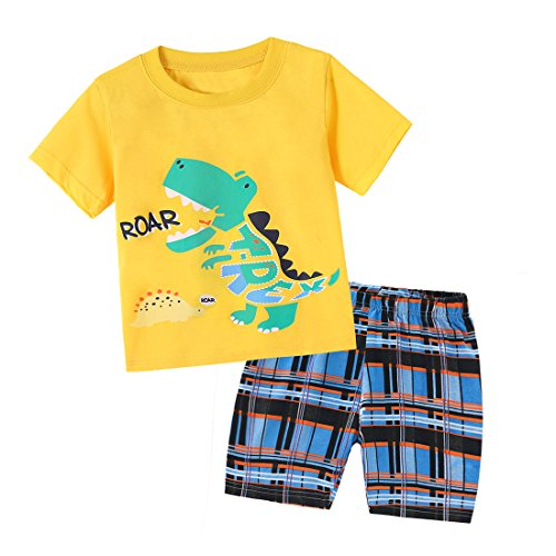 Dailybella Baby Boys Summer Clothes Short Sleeve T-Shirts Shorts Set 2pcs Dinosaur Toddler Outfits Clothing (US 4T/ Asin 6y, Yellow) ()