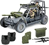 military action figures - Click N' Play Military Desert Patrol Vehicle (DPV) Buggy Jeep 16 Piece Play Set With Accessories.