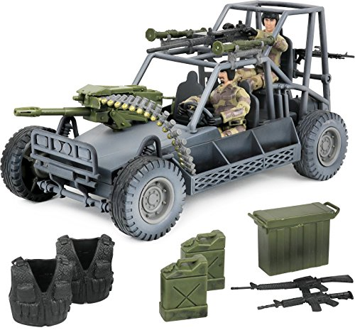 Click N' Play Military Desert Patrol Vehicle (DPV) Buggy 16 Piece Play Set with Accessories