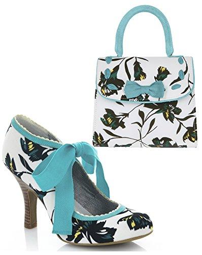 Ruby Shoo Women's Aqua Willow Fabric Bootie Pumps & Matching Santiago Bag UK 8 EU 41 - Divine Ankle Strap Pumps