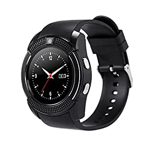 Chefcoco Black Smart Watch Clock with Sim TF Card Slot Bluetooth Suitable for Apple iPhone Android Phone Smartwatch Wristwatch