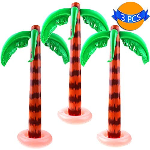 LOCOLO Inflatable Palm Trees Portable & Convenient Jumbo Coconut Trees for Tropical Party or Hawaiian Luau Pool Decor Beach Backdrop Cool Decoration for Theme Party 3 Pack 35 Inches for $<!--$18.99-->
