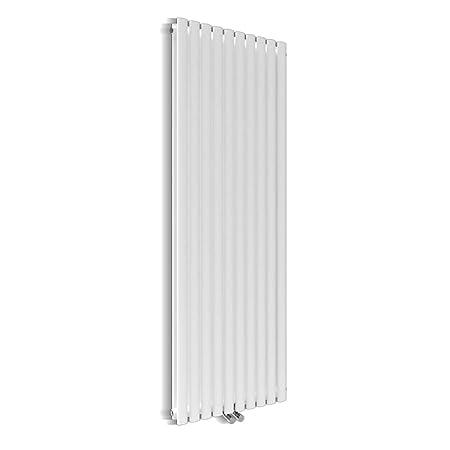 Design Röhren Heizkörper 590x1800mm Weiß Oval Paneelheizkörper