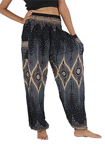 NaLuck Women's Boho Hippie Peacock Jumpsuit Rayon Smocked Waist Yoga Aladdin Harem Pants PJ04-Black, Free Size