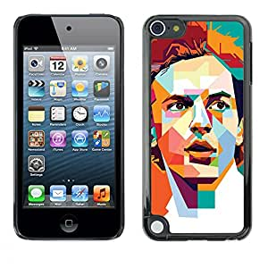 A-type Colorful Printed Hard Protective Back Case Cover Shell Skin for Apple iPod Touch 5 ( Polygon Orange Teal Redhead Retro )