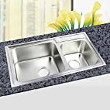 L30.3 Inch Double Bowl 304 Stainless Steel Kitchen Sink